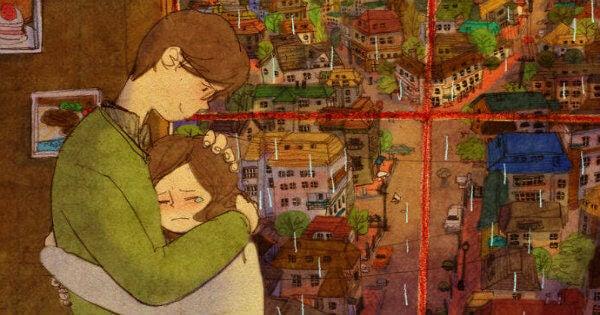 Gråtande kvinna med man