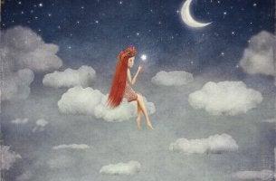Kvinna på moln