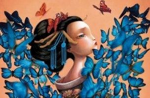 Flicka och fjärilar