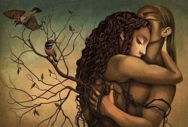 Trädrötter kring par