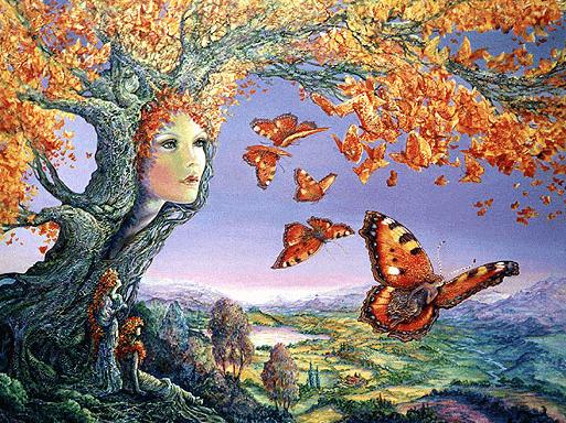 Kvinna i trädstam