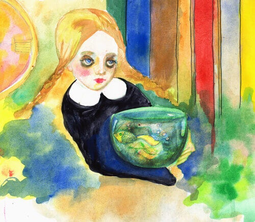 Flicka med fisk