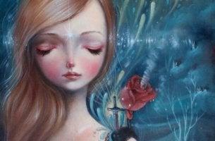 Flicka, ros och svärd