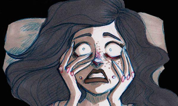 Skräckslagen kvinna