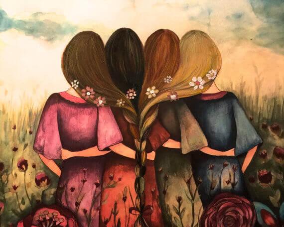 Flickor med sammanflätat hår