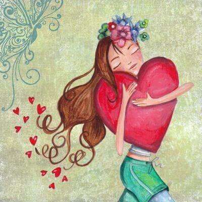 Kvinna med hjärta