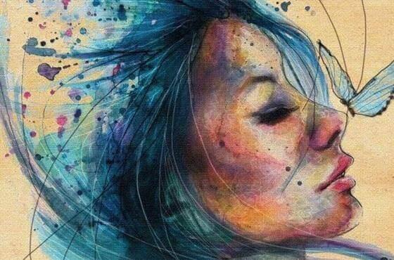 Färgglad kvinna
