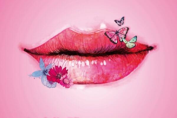 Fjärilar på läpp