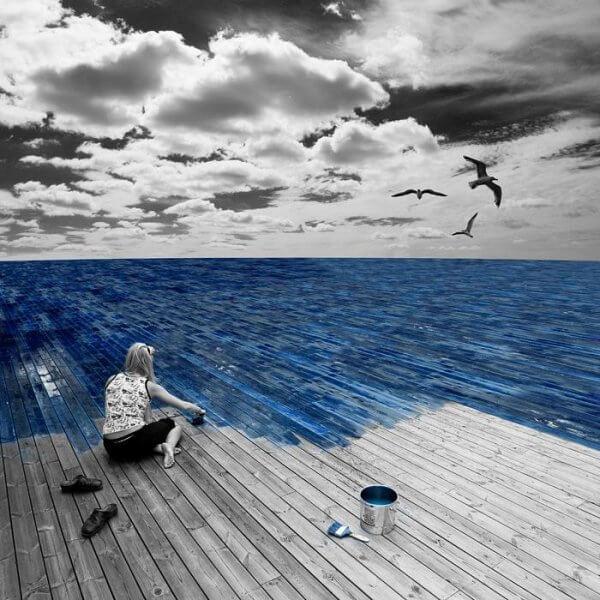 Målar havet