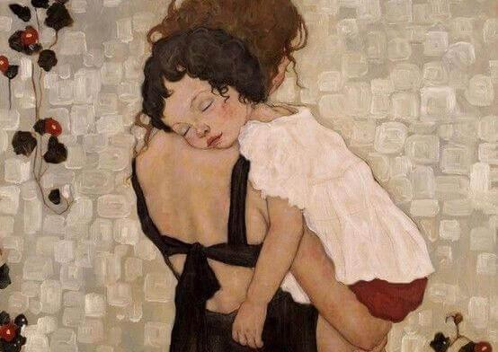 Mor bär på barn