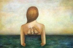 Kvinna på havet