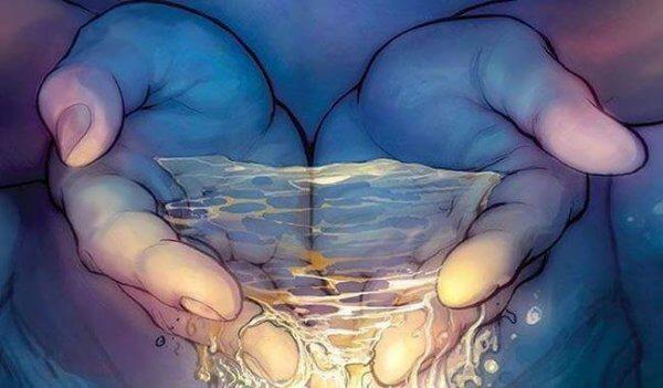 Vatten i kupade händer