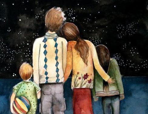 Porträttet av en perfekt familj