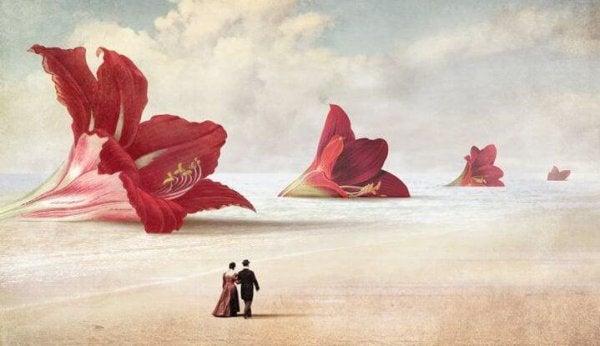 Blommor på stranden