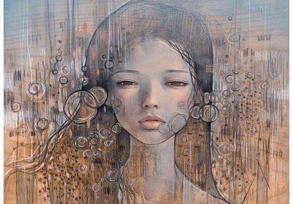 Bubblor runt kvinna