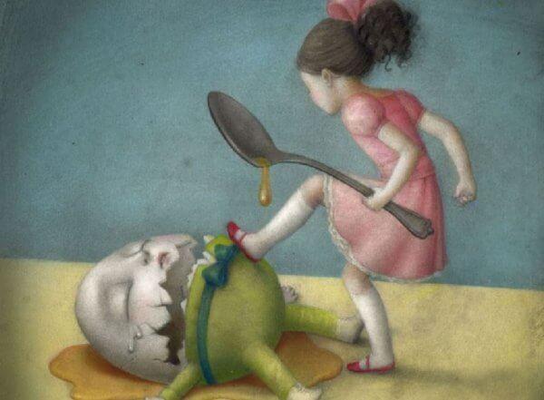 Flicka förstör ägg