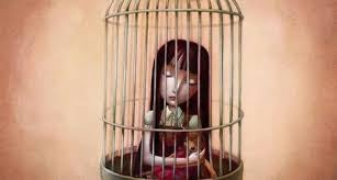 Flicka i bur