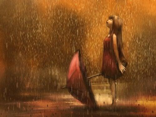 Flicka i regnet