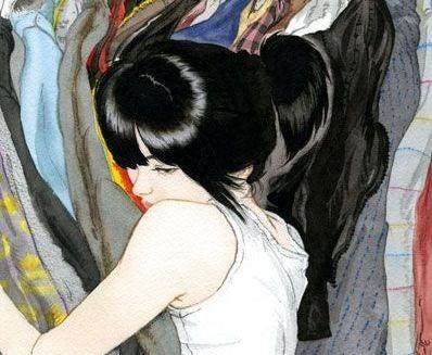 Kvinna kramar kläder