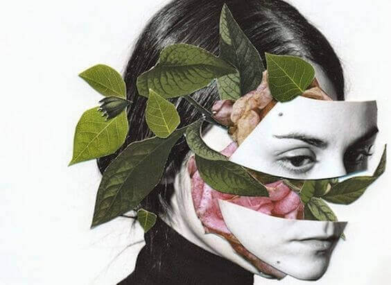 Kvinna med rosenblad