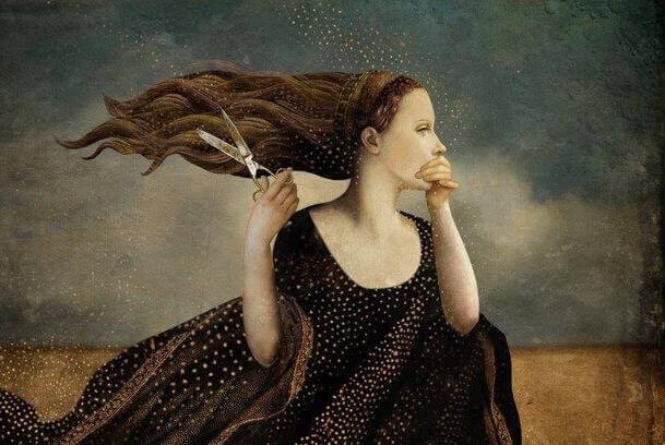 Kvinna med sax