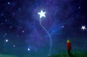 Barn ser på stjärnor