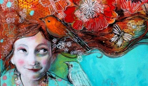 Fågel på flicka