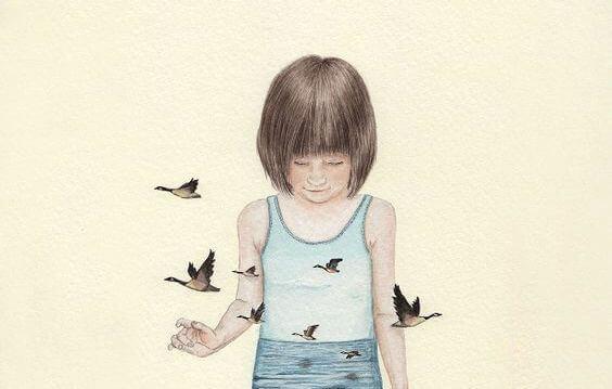 Fåglar runt flicka