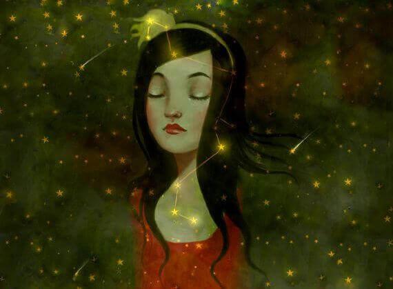 Flicka bland stjärnor