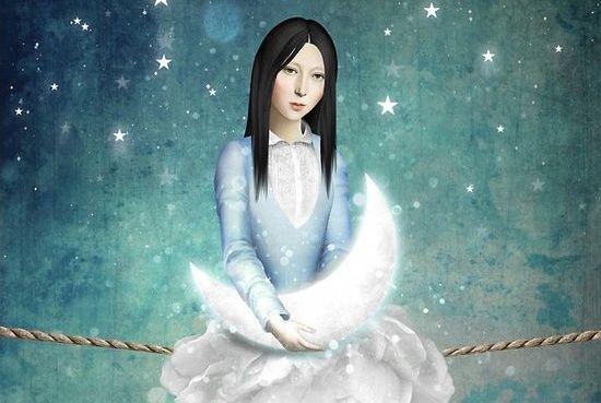 Flicka håller måne