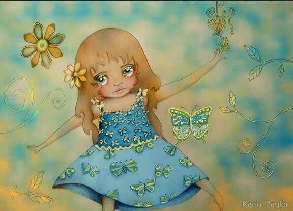 Ledsen flicka med fjärilar