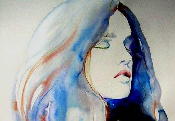 Vattenmålad kvinna