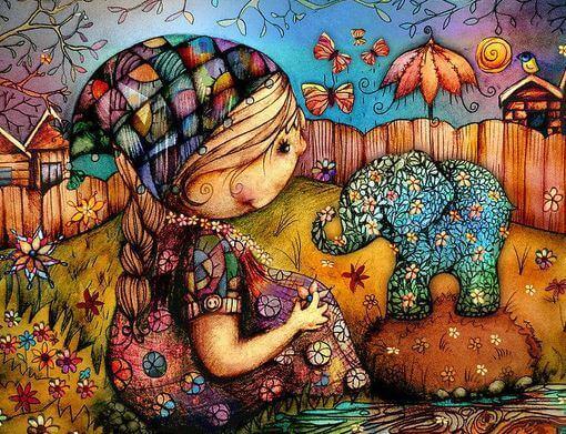 Flicka med elefant
