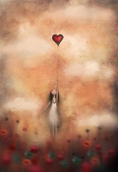 Flicka med hjärtballong