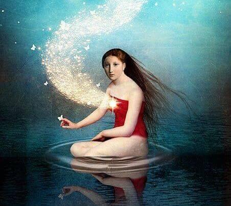 Flicka på vatten
