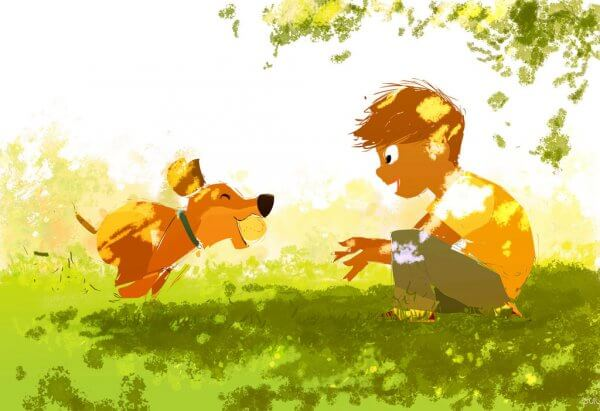 Pojke leker med hund