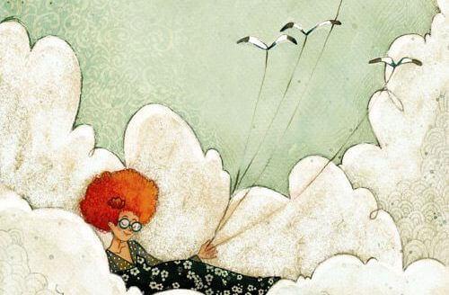Afrokvinna bland molnen