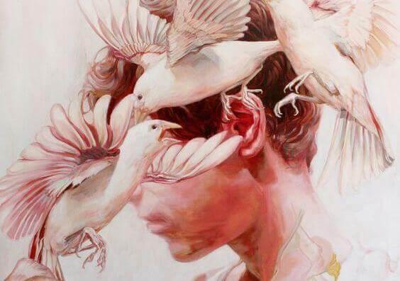 Fåglar kring huvud