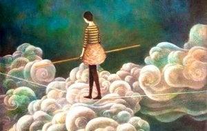 Kvinna går på lina