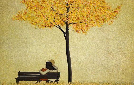 Par på bänk