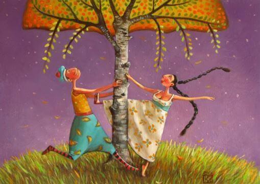 Par under träd