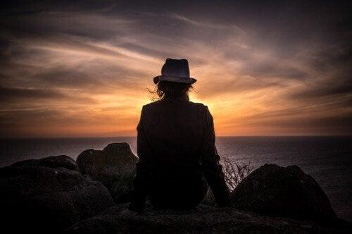 Person i solnedgång