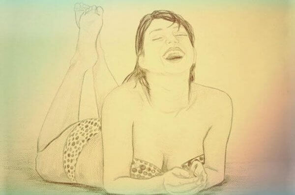 Kära tjej i grön baddräkt