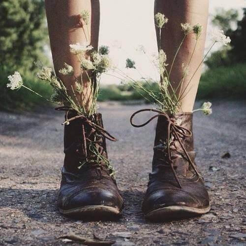 Blommor i skor