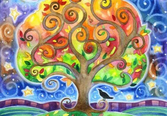 Färgglatt träd
