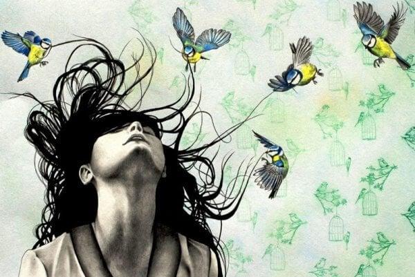 Fåglar kring flicka