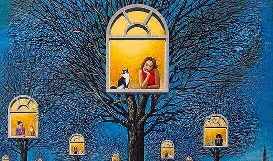 Fönster i träd