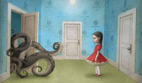 Flicka och bläckfisk