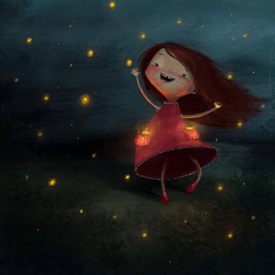 Glad tjej och eldflugor