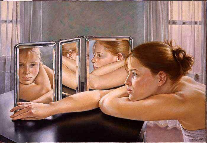 Kvinna i speglar